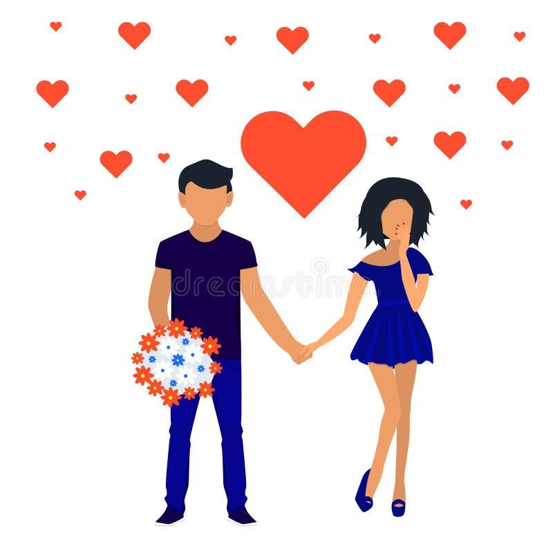 Coppie in mani della holding di amore Caratteri per la festività del biglietto di S. Valentino del san Vettore illustrazione vettoriale