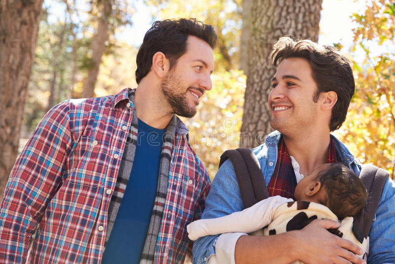 Coppie maschii gay con il bambino che cammina attraverso il terreno boscoso di caduta fotografia stock libera da diritti