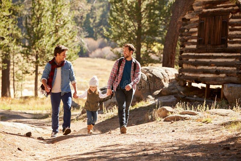 Coppie maschii gay con la figlia che cammina attraverso il terreno boscoso di caduta fotografia stock libera da diritti