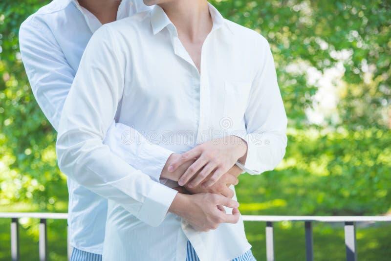 Coppie maschii omosessuali che abbracciano con il partner fotografia stock libera da diritti