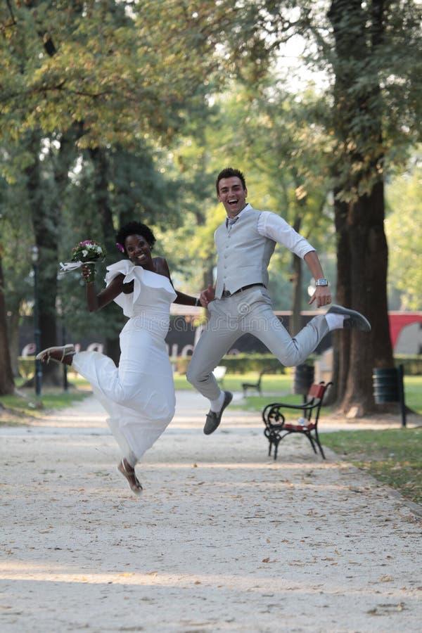 Coppie multirazziali di nozze fotografia stock libera da diritti