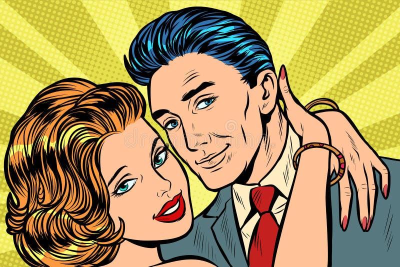 Coppie nell'abbraccio di amore illustrazione vettoriale