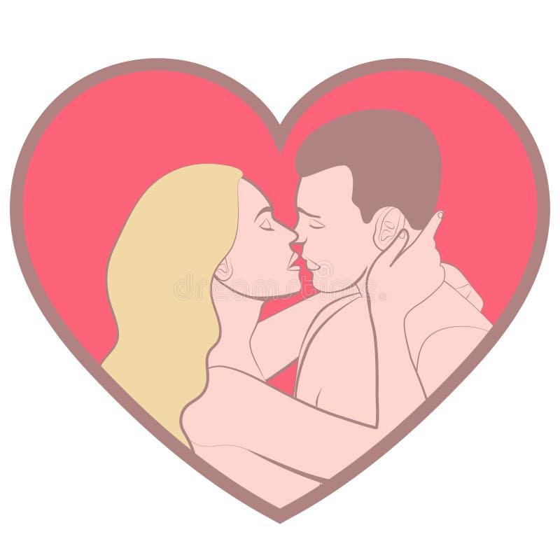 Coppie nell'amore, amanti bello uomo ed abbracciare e bacio della donna nella forma di cuore rosa, isolata su fondo bianco, passo illustrazione vettoriale