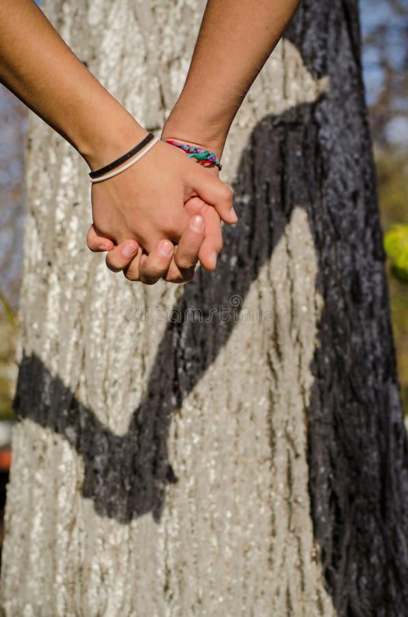 Coppie nell'amore che si tiene per mano giorno di estate caldo fuori nella natura Ragazza e ragazzo con le mani che esprimono ins fotografia stock libera da diritti