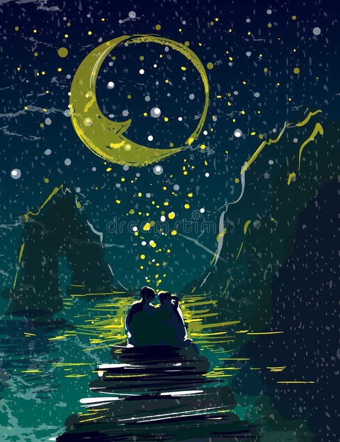 Coppie nell'amore che si tiene sotto le montagne stellate e la luna del cielo sull'illustrazione di vettore del pilastro del mare royalty illustrazione gratis