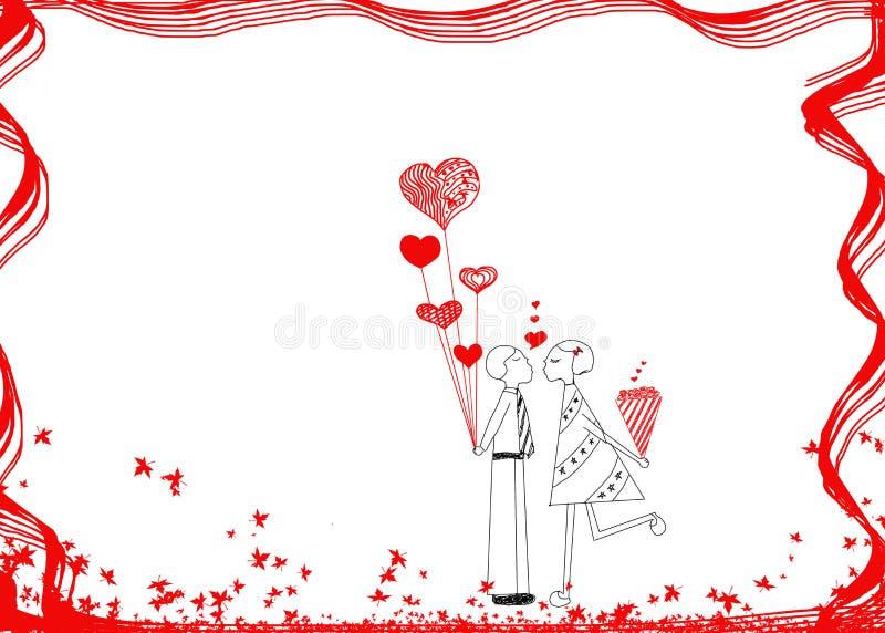 Coppie nell'amore, idea disegnata a mano di progettazione delle coppie nell'amore (maschio royalty illustrazione gratis