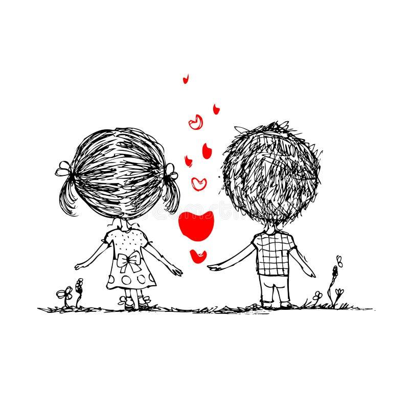 Coppie nell'amore insieme, schizzo del biglietto di S. Valentino per il vostro illustrazione di stock
