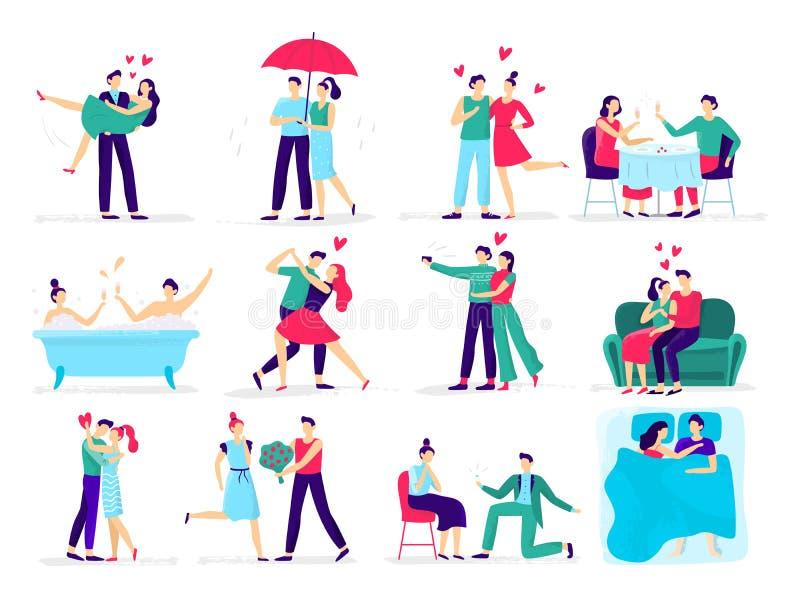 Coppie nell'amore La coppia di amore alla data, amante presenta la proposta all'innamorato in ristorante Vettore di baci e degli  illustrazione di stock