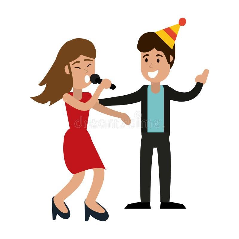 Coppie nella festa di compleanno royalty illustrazione gratis