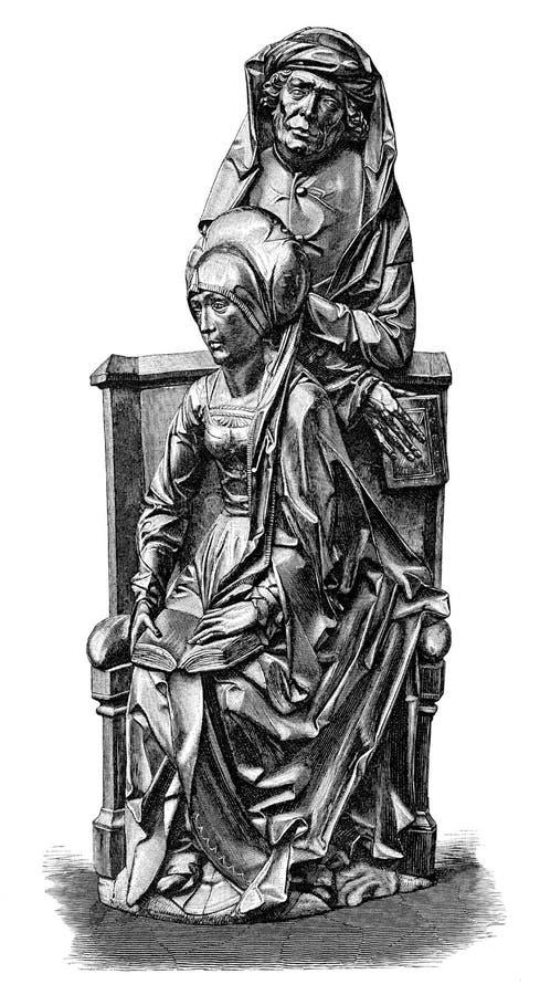 Coppie nella stampa del woodblock dell'intaglio in legno del banco di chiesa royalty illustrazione gratis