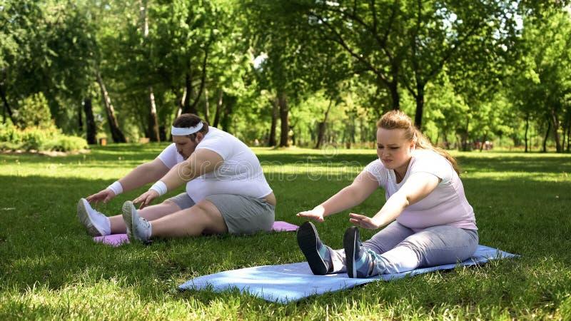 Coppie obese che fanno gli esercizi, inizianti insieme stile di vita sano, supporto fotografia stock libera da diritti