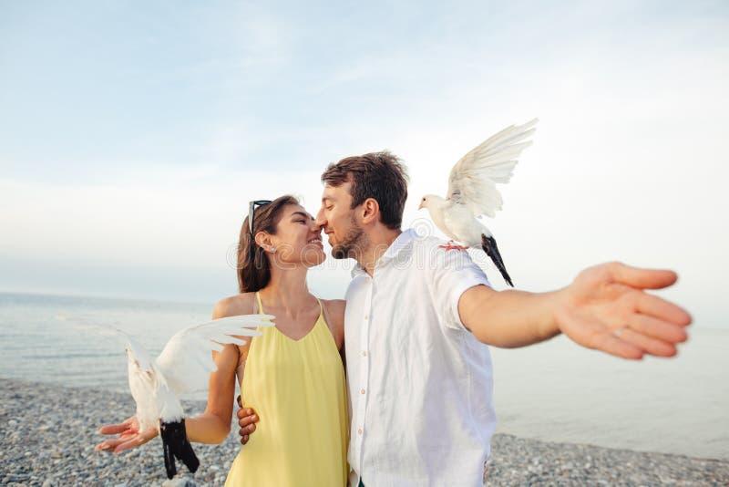 Coppie in parco che gioca con i piccioni locali, divertiresi dei turisti fotografie stock