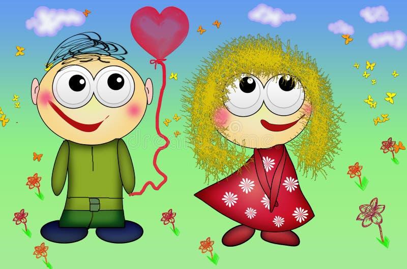 Coppie piacevoli nell'amore Gente romantica di giorno del ` s del biglietto di S. Valentino nell'amore royalty illustrazione gratis