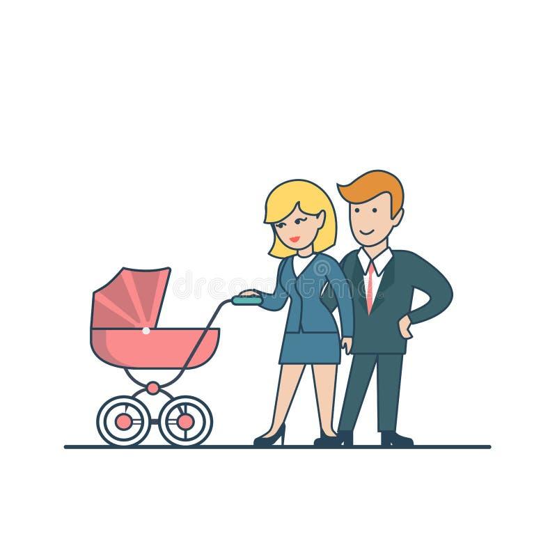 Coppie piane lineari che camminano con il vettore della carrozzina Busin royalty illustrazione gratis