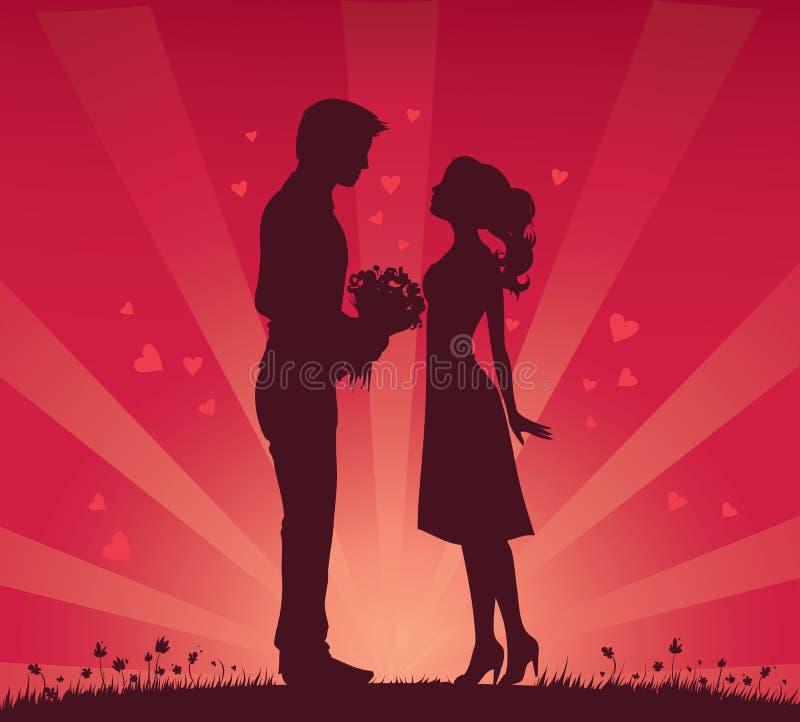 Coppie romantiche royalty illustrazione gratis