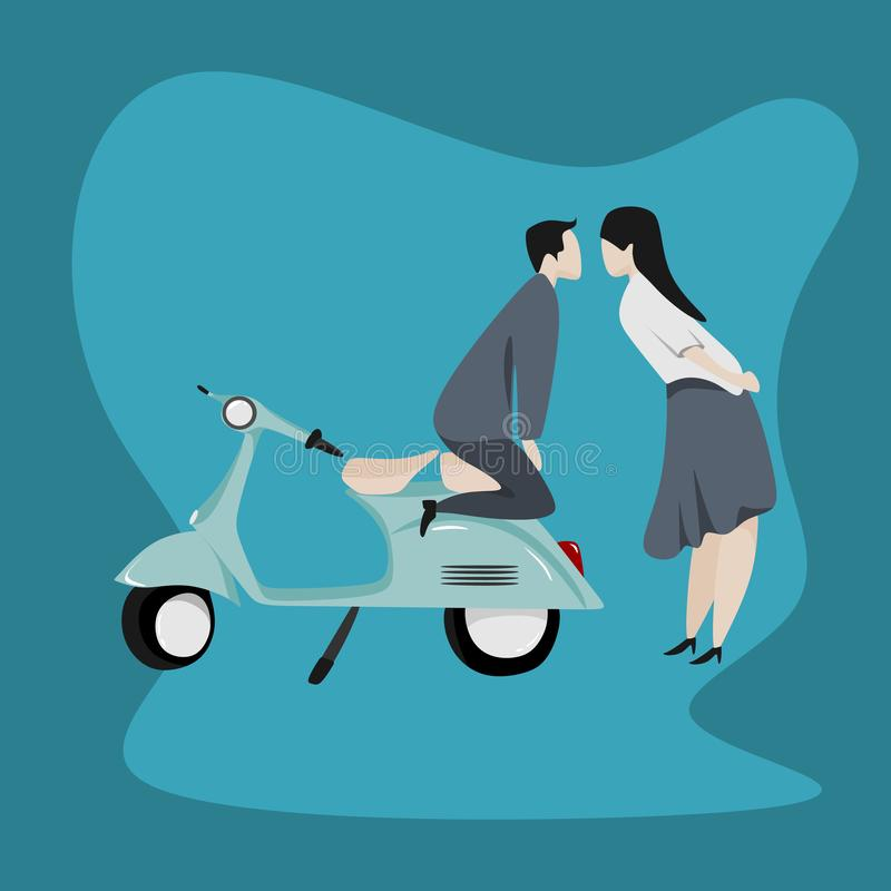 Coppie romantiche con stile del fumetto e l'illustrazione di disegno svegli di vettore del motorino illustrazione di stock
