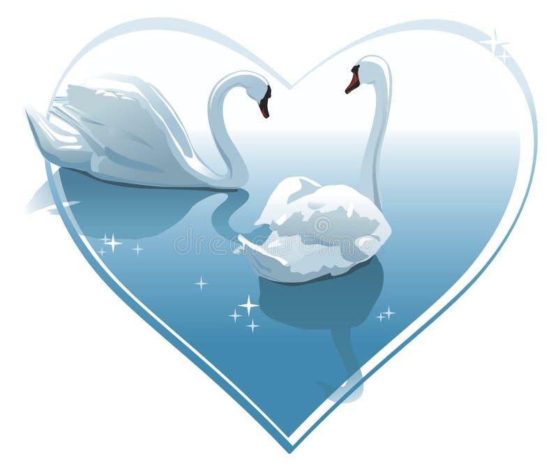 Coppie romantiche dei cigni in una figura del cuore. Illustrazione di vettore illustrazione vettoriale