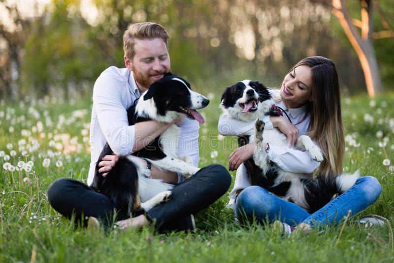 Coppie romantiche nei cani di camminata di amore nella natura e nel sorridere fotografia stock libera da diritti