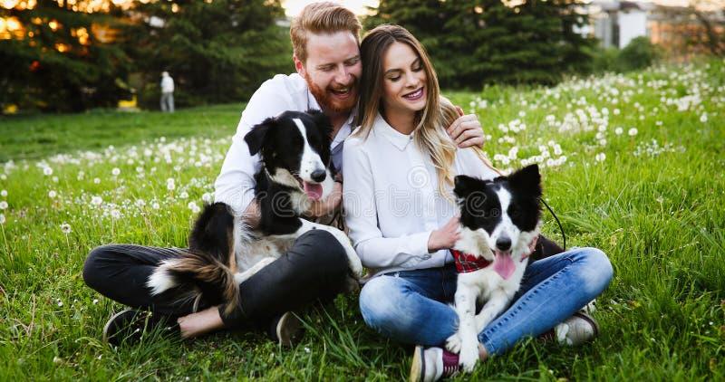Coppie romantiche nei cani di camminata e nel legame di amore immagini stock
