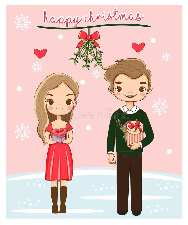 Coppie romantiche sveglie felici per il festival di Natale illustrazione vettoriale