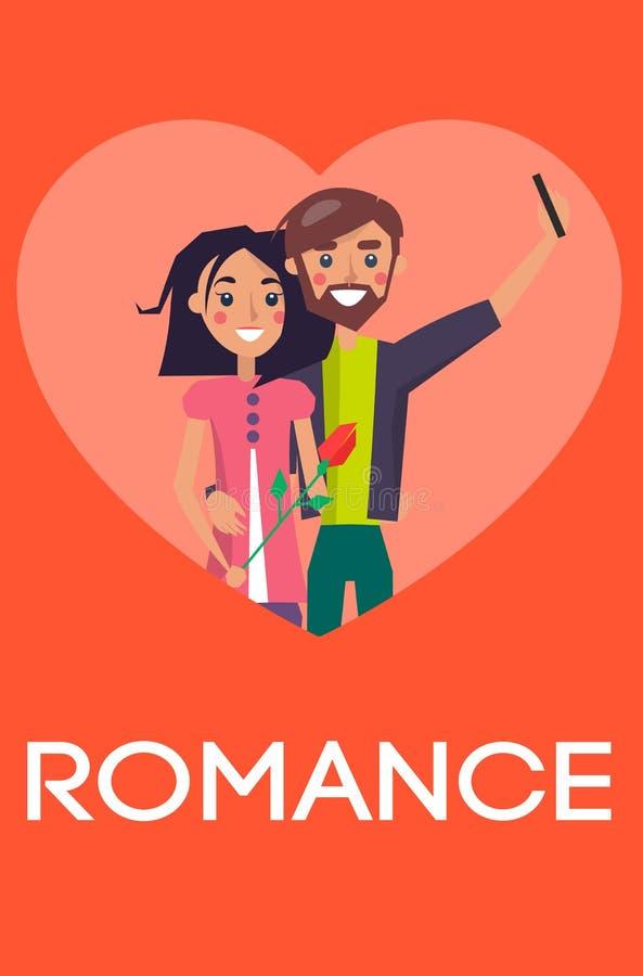 Coppie romanzesche di concetto nell'amore che fa il cuore di Selfie royalty illustrazione gratis