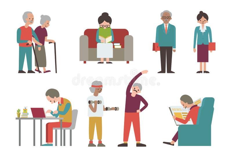 Coppie senior royalty illustrazione gratis