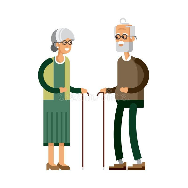 Coppie senior anziane pensionate di età illustrazione di stock