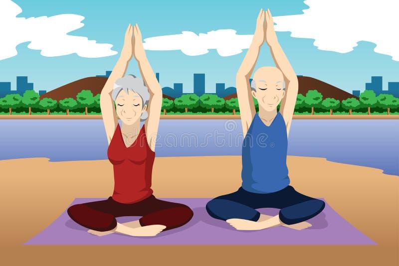 Coppie senior che fanno esercizio di yoga illustrazione di stock