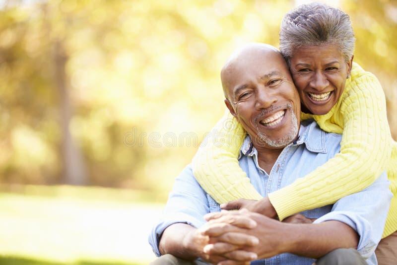 Coppie senior che si rilassano in Autumn Landscape immagini stock