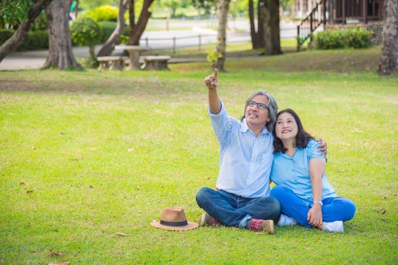 Coppie senior che si rilassano insieme nel parco immagini stock