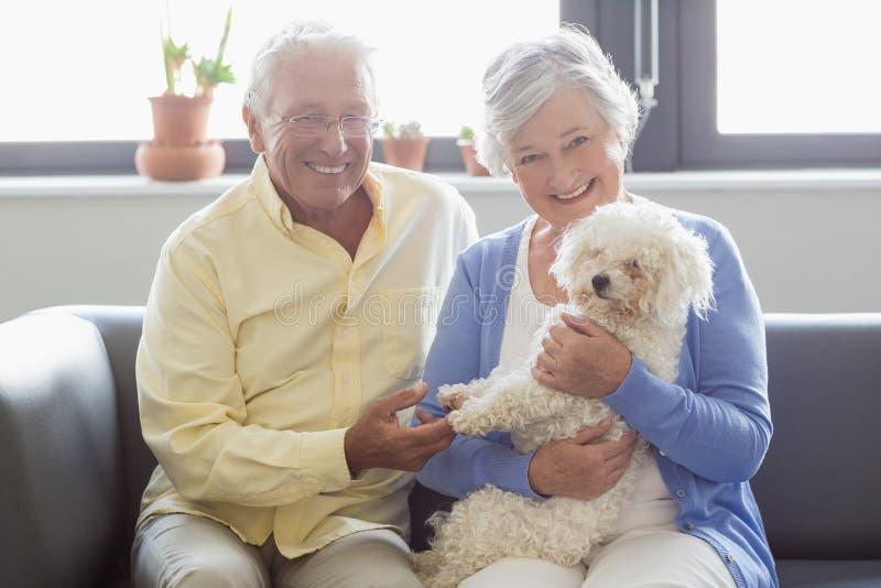 Coppie senior che tengono un cane immagine stock libera da diritti