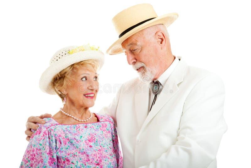 Coppie senior del sud - flirtando fotografie stock