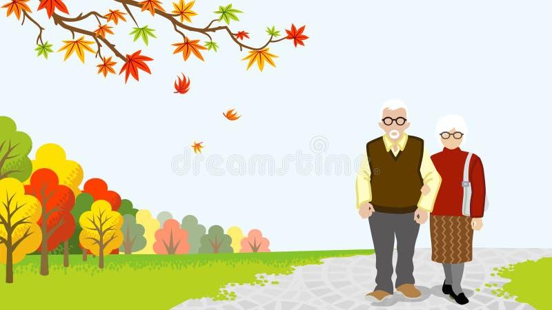 Coppie senior di camminata in natura di autunno illustrazione vettoriale