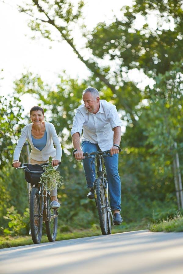 Coppie senior durante un percorso in bicicletta di estate immagini stock