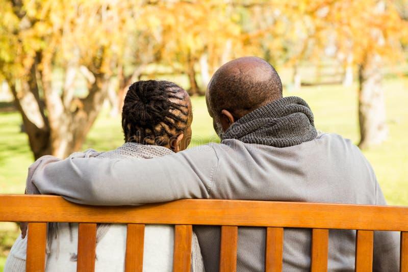 Coppie senior felici che discutono insieme su un banco fotografia stock