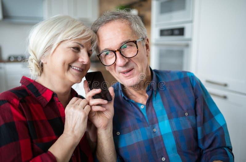 Coppie senior felici che hanno conversazione telefonica fotografia stock libera da diritti