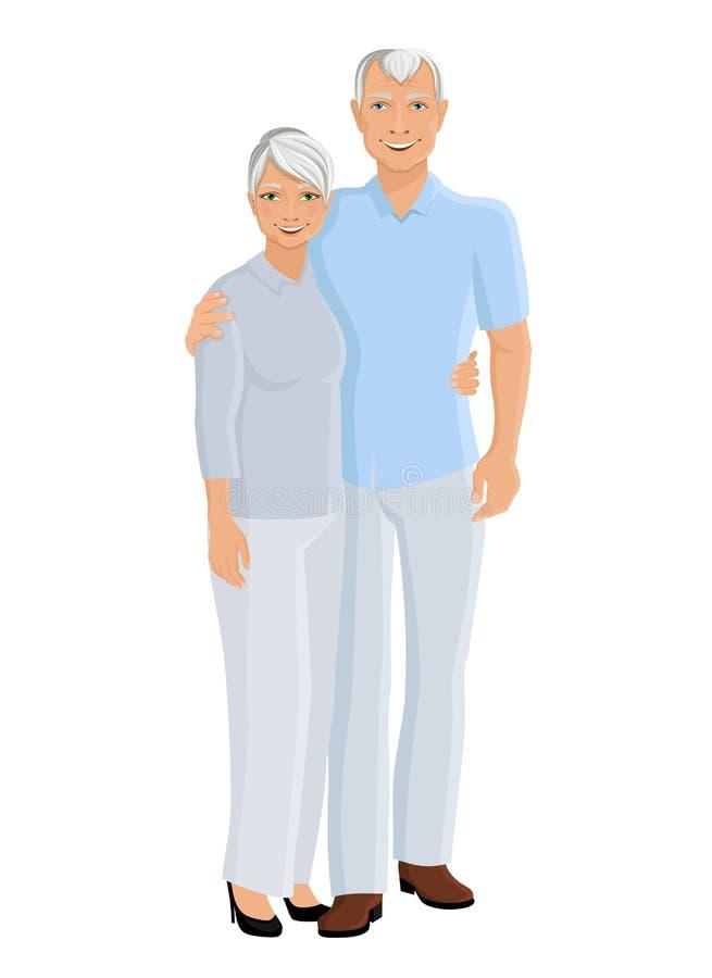 Coppie senior integrali royalty illustrazione gratis