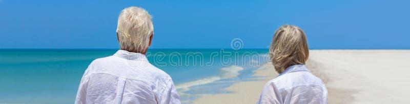 Coppie senior pensionate sull'insegna tropicale di web di panorama della spiaggia fotografia stock libera da diritti