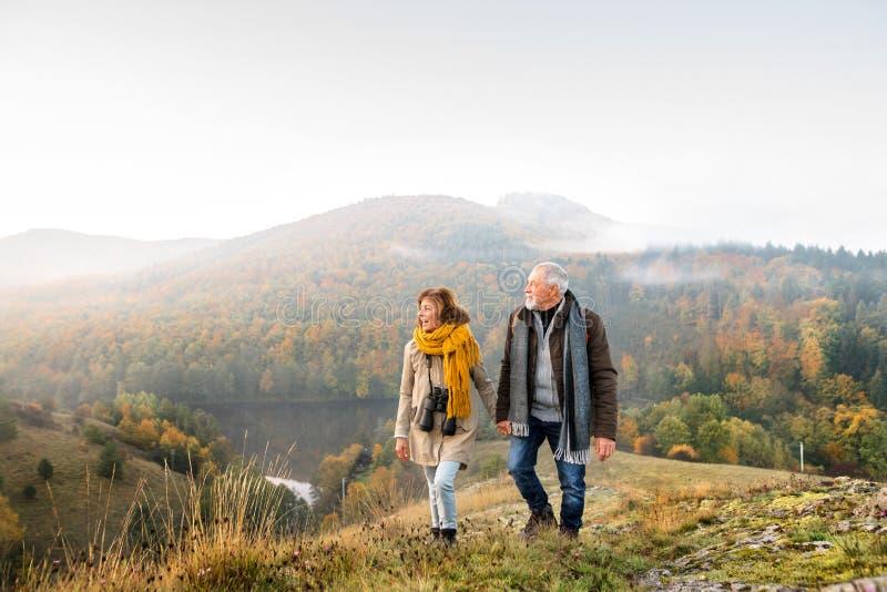 Coppie senior su una passeggiata in una natura di autunno immagine stock
