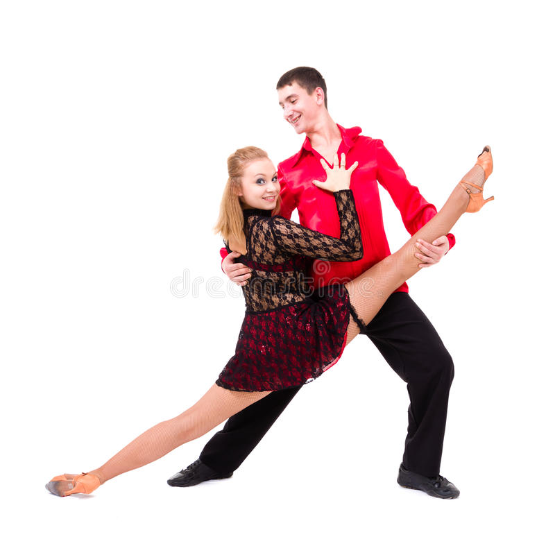 Coppie sensuali di dancing della salsa fotografia stock libera da diritti
