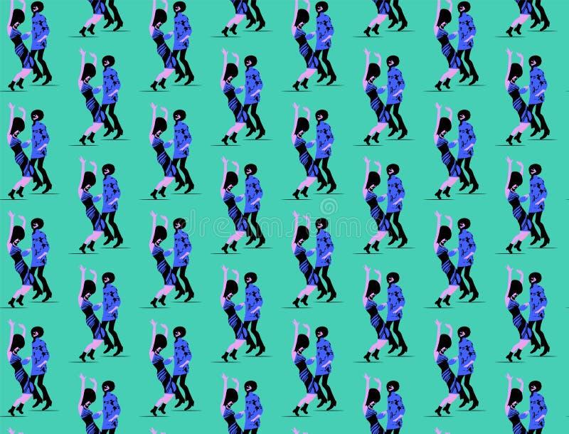 Coppie senza cuciture della musica funky di dancing del modello illustrazione vettoriale