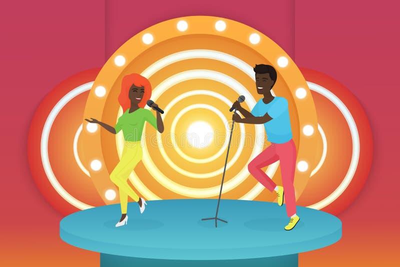 Coppie sorridenti americane del cantante dell'africano nero giovani che ballano e che eseguono sulla fase luminosa Vettore Colour illustrazione di stock