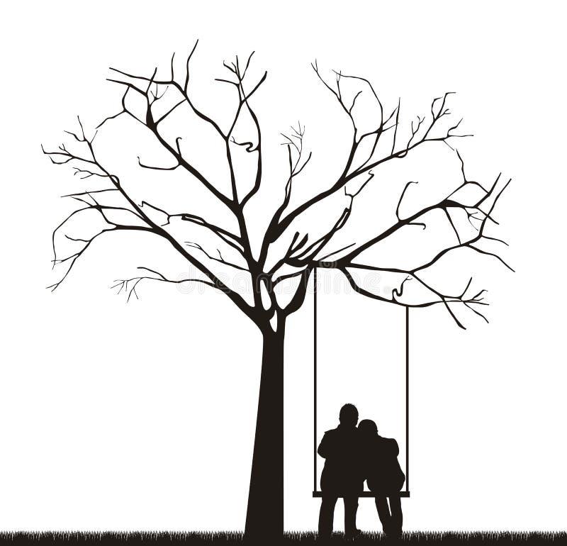 Coppie sotto l'albero royalty illustrazione gratis