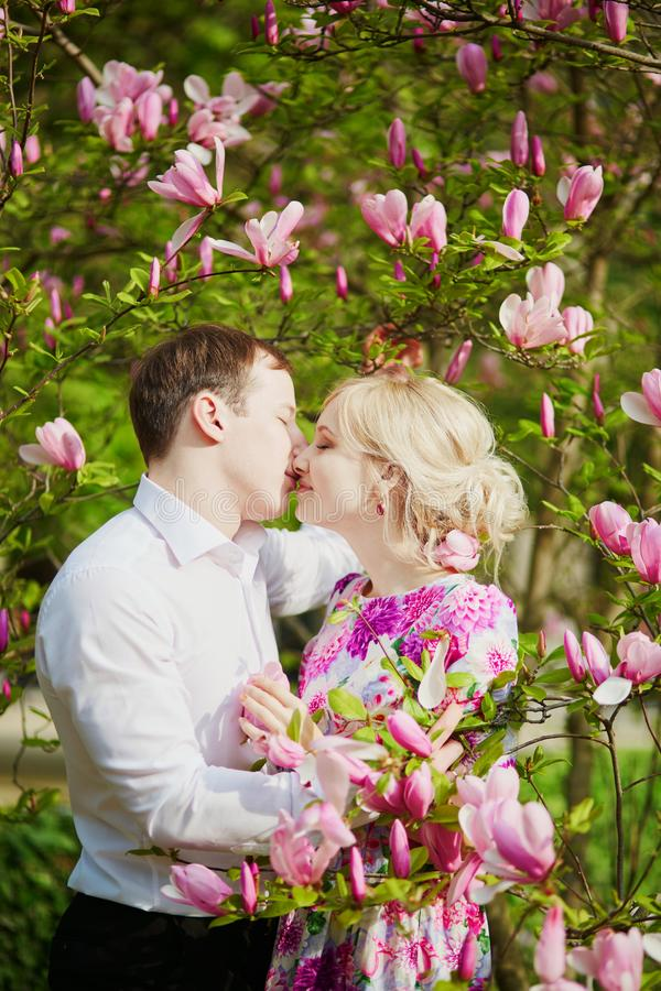 Coppie sotto l'albero di fioritura della magnolia un giorno di molla fotografie stock libere da diritti