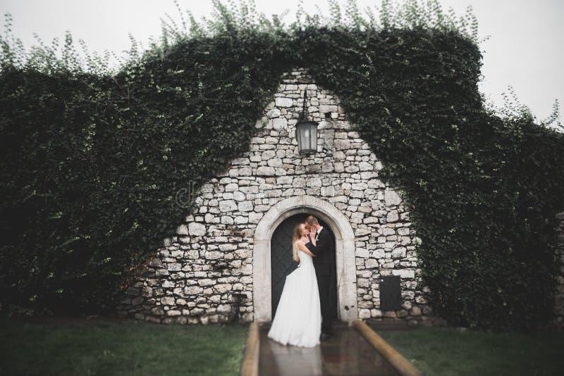 Coppie splendide di nozze che camminano nella vecchia citt? fotografia stock
