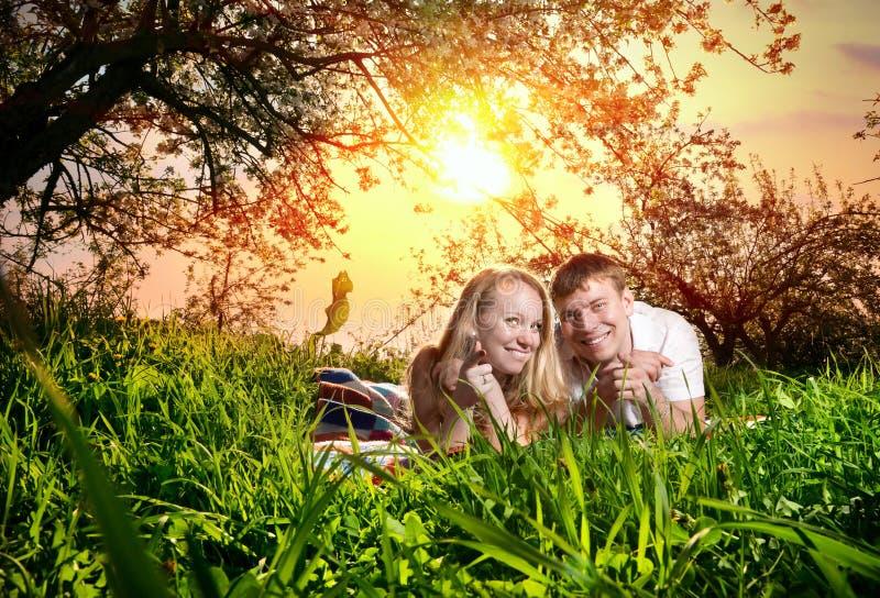 Coppie su erba verde fotografie stock