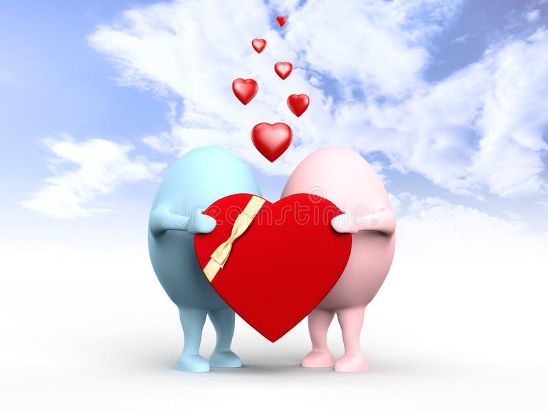 Coppie sveglie dei caratteri del Egghead con un biglietto di S. Valentino royalty illustrazione gratis