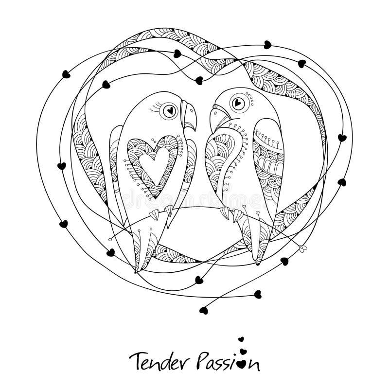 Coppie sveglie dei pappagalli di vettore nello stile di contorno Descriva gli uccelli e la struttura decorata con i cuori isolati royalty illustrazione gratis