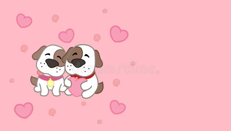 Coppie sveglie del cane della carta di giorno del ` s del biglietto di S. Valentino Illustrazione di clipart di vettore illustrazione vettoriale