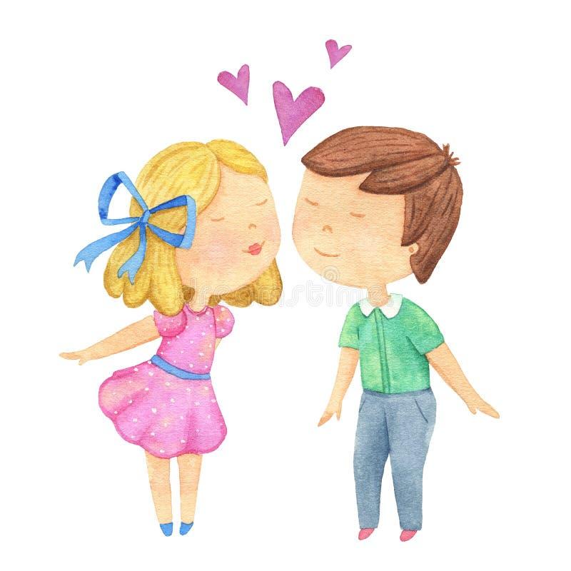 Coppie sveglie di amore che baciano sulla cima di cuore rosa Ragazzo e ragazza Illustrazione dell'acquerello illustrazione vettoriale